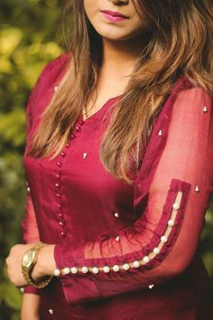 40 Latest Sleeve Designs to Try With Kurtis A Fashion Update: Different Types New Neck Designs Such a gorgeous colour Sheer full length gives a special look Beads on sleeves looking attractive Kurti Sleeves Design, Sleeves Designs For Dresses, Kurta Neck Design, Neck Designs For Suits, Dress Neck Designs, Blouse Designs, Sleeve Designs For Kurtis, Neck Design For Kurtis, Stylish Kurtis Design