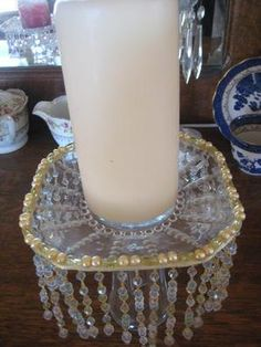 Beautiful Pale Blue & Gold Beaded Candle Holder vintage by thooker, $35.00