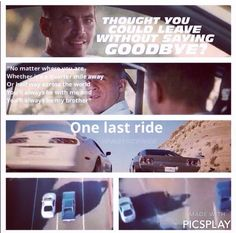Bittersweet scene and a glorious woay to end the movie. Brian & Dom - Furious 7
