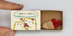 """Items similar to mother& day card / cute mothers day gift / mom& birthday card / gift for mom / """"i love you mom"""" matchbox / cat mother card on etsy - Mother& Day Card / Cute Mother& Day Gift / Mum by Mother& Day Card / Cute - Birthday Message For Mother, Birthday Cards For Mom, Birthday Diy, Funny Birthday, Birthday Gifts, Matchbox Crafts, Matchbox Art, Cute Mothers Day Gifts, Mother Day Gifts"""