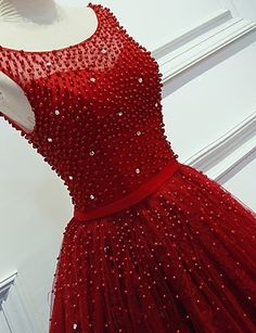 Luxurious A-Line Round Neck Red Long Prom Dress with Pearl  sold by dressthat. Shop more products from dressthat on Storenvy, the home of independent small businesses all over the world.
