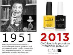 """Campagna """"Lancio CND Vinylux, the weekly polish"""":  1951, Bette Nesmith Graham crea il bianchetto per correggere gli errori. 2013, CND lancia la prossima rivoluzione manicure!"""