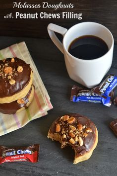 Baked Molasses Doughnuts with Peanut Chews Filling