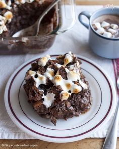 Marshmallow-Topped Cocoa & Toast Bread Pudding