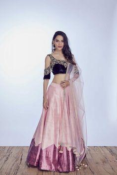 Beautiful velvet blue blouse pink lehenga skirt under 20k! Click on image to see more budget lehengas. #Frugal2Fab