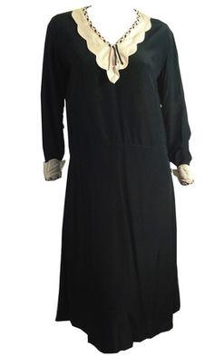 Jet Black Silk Dress w/ Scalloped Collar, Braid Trim circa 1920s - Dorothea's Closet Vintage