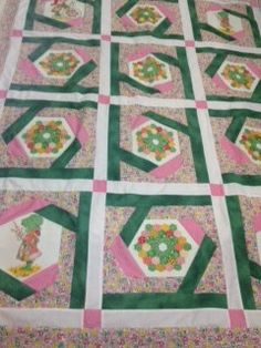 Unfinished Holly Hobbie Quilt Top with fabric for binding by bebak, $59.95