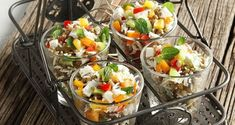 Warm salad with Baked Lentils by Greek chef Akis Petretzikis. A delicious, light dish made with baked lentils, rice, vegetables, aromatics and feta cheese! Salad Recipes, Snack Recipes, Cooking Recipes, Healthy Recipes, Healthy Food, Snacks, Warm Salad, Kinds Of Salad, Greek Recipes