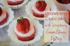 Strawberry Cupcakes with Strawberry Cream Cheese Frosting www.oneshetwoshe.com