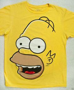yellow BIG HOMER SIMPSON FACE Universal Studios t-shirt adult unisex S (38-40)