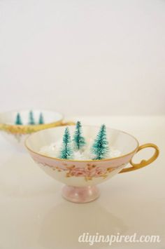 Mini Winter Forest in Vintage Tea Cups- adorable Christmas decor idea