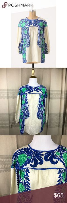 Anthropologie Anna Sui Mako Silk Peasant Blouse Beautiful 100% silk printed peasant blouse from Anna sui for Anthropologie. Size 12. Great pre worn condition! No trades or try ons please Anthropologie Tops Blouses