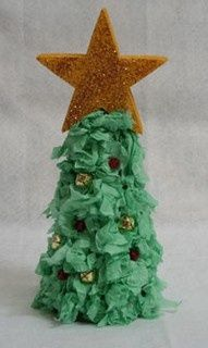 Tissue Paper Christmas Trees | 99Crafting