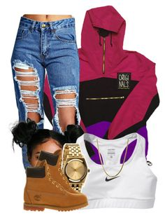 """really just threw this together"" by clickk-mee ❤ liked on Polyvore featuring Boohoo, NIKE, Nixon and Timberland"