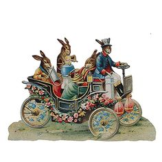 Germany Large Lithograph Die Cut Paper Scrap Victorian Bunny Car  5112