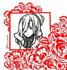 #anime #drawing #zentangle #frame #rose #red #flowers #pattern #girl #cute #kawaii #beautiful #face #curls #gelpen #art #illustration #work #creative #handmade