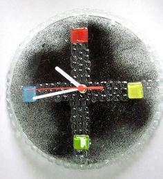 relógio de vidro - parede preto/vermelho/amarelo/azul/verde ponteiros brancos parede  28 cm diam R$62,00