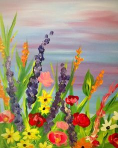 Join us for a Paint Nite event Thu May 2017 at 41 Court Square Harrisonburg, VA. Purchase your tickets online to reserve a fun night out! Garden Painting, Tile Painting, Spring Art Projects, Diy Canvas Art, Canvas Ideas, Acrylic Art, Art Pictures, Painted Rocks, Flower Art