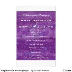 "Purple Drizzle Wedding Programs 5.5"" X 8.5"" Flyer"