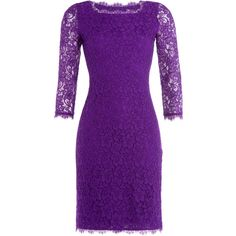 Diane von Furstenberg Zarita Lace Dress ($340) ❤ liked on Polyvore featuring dresses, purple, fitted cocktail dresses, purple lace cocktail dress, v back dress, lacy dress and purple cocktail dress