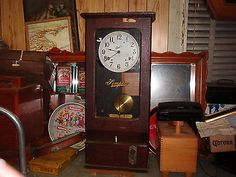 Antique Clock-SIMPLEX TIME RECORDER-KEY WIND-RARE MD writes.,. I have one of these but the wood is much nicer