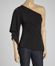 This Black Embellished Asymmetrical Top by Ella Samani is perfect! #zulilyfinds