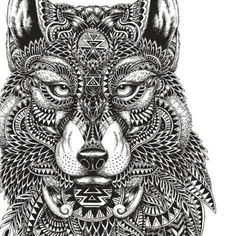Adult Coloring Pages: Mayan Wolf http://www.adultcoloringguide.com/free-coloring-pages-wolves/