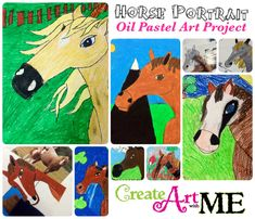 Horse Portrait Oil Pastel Drawing Art Lesson. Teacher Guided Demonstration on drawing the horse head. Then added details to the drawing like the background (fences, mountains, grass, trees, etc.) or add gear to the horse.