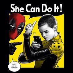 She CAN do it! ... After she finished her tweet. Go get em, tiger. ;)