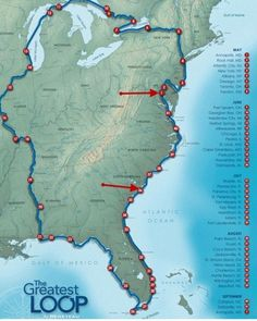 Doing the Great Loop boat cruise of over 5,000 miles, usually lasting more than one boating season, would be an incredible adventure!---Some Day! #boatinglife