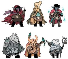 Here's another set of fantasy pals from my twitter. top from the left: a rogue, an alchemist and a warrior princess. Bottom from the left: a brawler, a bard and a winter hunter.