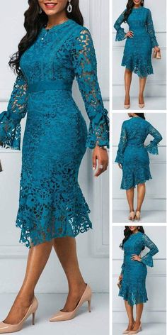 Shop dresses designed to twirl at Rotita.This navy style will have you feeling royally fashionable.It's a unique find that's perfect for the office party,a night at the theater or any special occasion this holiday season. Latest African Fashion Dresses, African Dresses For Women, African Print Fashion, Africa Fashion, Latest Dress, Mode Outfits, Dress Outfits, Lace Dress Styles, Elegant Outfit