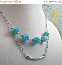 ON SALE Sterling Silver Double Strand Necklace with Aquamarine Czech Glass Beads