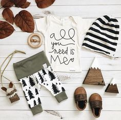 Baby girl tshirt outfit ideas Baby flatlay. All you need is love quote. Baby woodland, tree pattern. Baby boy girl unisex gender neutral baby clothes. Toddler, newborn, kids fashion. Nursery decor mountain theme wood shapes. Grey cream white stripe slouch https://presentbaby.com