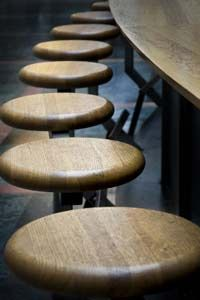 "HowStuffWorks ""How to Build Bar Stools""  What if our barstools were fixed to the floor and minimalist like these?"