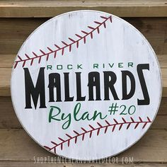 Personalized Baseball Sign, Circle Baseball Sign, Baseball Decor, Kids Bedroom Decor, Custom Sports Decor, Home Decor, Wood Sign