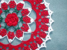 thread crochet doily in red, green and white cotton thread --1722. $12.00, via Etsy.