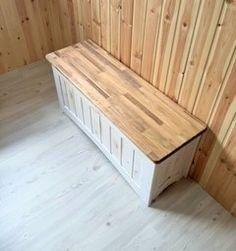 カントリー家具 ベンチ兼収納BOX ホワイト&ダーク_画像1