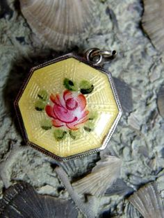Beautiful Sterling Silver Guilloche Yellow Enamel Charm or Pendant with Hand Painted Rose, Embossed Bezel, Signed Sterling, Octagonal, Sweet by postGingerbread on Etsy