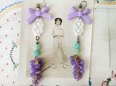 merlotupcycled dangle earrings grape bead cluster by Arey on Etsy