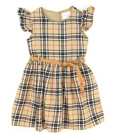 Look at this Camel Plaid Belt Dress - Infant, Toddler & Girls on #zulily today!