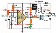 In this article we study a simple computer USB li-ion battery charger circuit with auto-cut off, current control features. How it Works The circuit can be understood with the […] Battery Charger Circuit, Automatic Battery Charger, Lithium Battery Charger, Electronic Circuit Projects, Electronic Engineering, Diy Electronics, Electronics Projects, Electrical Circuit Diagram, Power Supply Circuit
