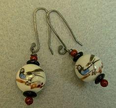Vintage Chinese Porcelain BIRD Bead Earrings,Carnelian,Black Glass,Sterling Silver