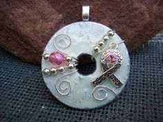 Beautiful White and Pink Wire Wrapped Breast Cancer Awareness/Survivor Washer Pendant and Chain via Etsy.