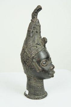 Statue africaine en bronze d'une tête de reine Ifé du Nigeria 1104 ...