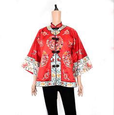 Vintage red Chinese jacket with embroidery {Vintage embroidered jacket/vintage robe/Chinese coat/oriental jacket/red jacket/red robe} Chinese Collar, Vintage London, Embroidered Jacket, High Collar, Floral Tops, Kimono Top, Fancy, Embroidery, Coat