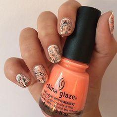 Orange and black dry brush nails using China Glaze - Flip Flop Fantasy