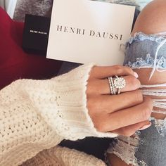 engagement ring with halo - cushion cut diamond - henri daussi ring - 2 bands #APBling || Aisle Perfect