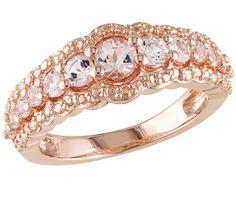 1.00cttw Morganite Band Ring, Sterling & 14K Rose-Plated - J340759 — QVC.com