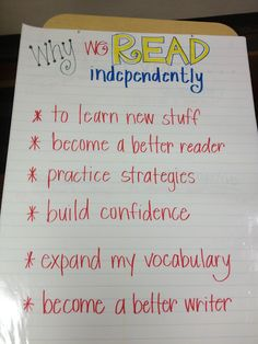 Independent Reading Anchor Chart - good reminder of why we do it every day!